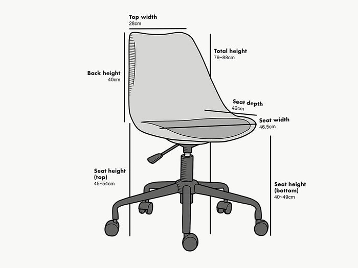 Gerri Swivel Office Chair with Upholstered Seat White 5