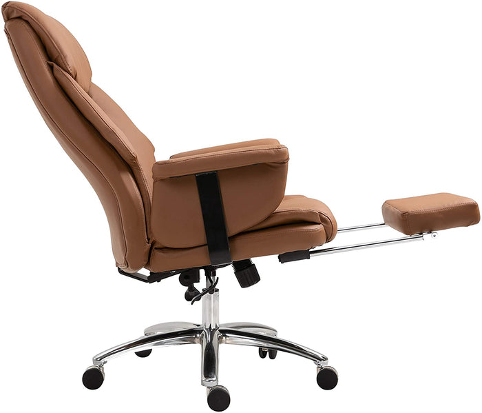 Abraham Wingback Style Office Chair with Footrest in Brown PU Leather 6