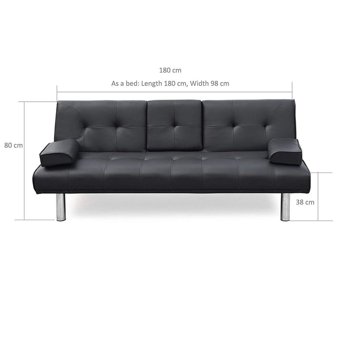 acrux 3 seater sofa bed with cup holders cushions dark grey pu