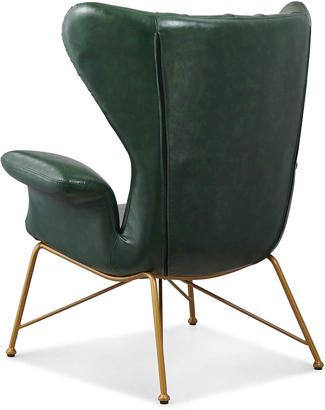 Oliver Vintage Effect Wingback Green PU Leather Armchair Accent Chair 5
