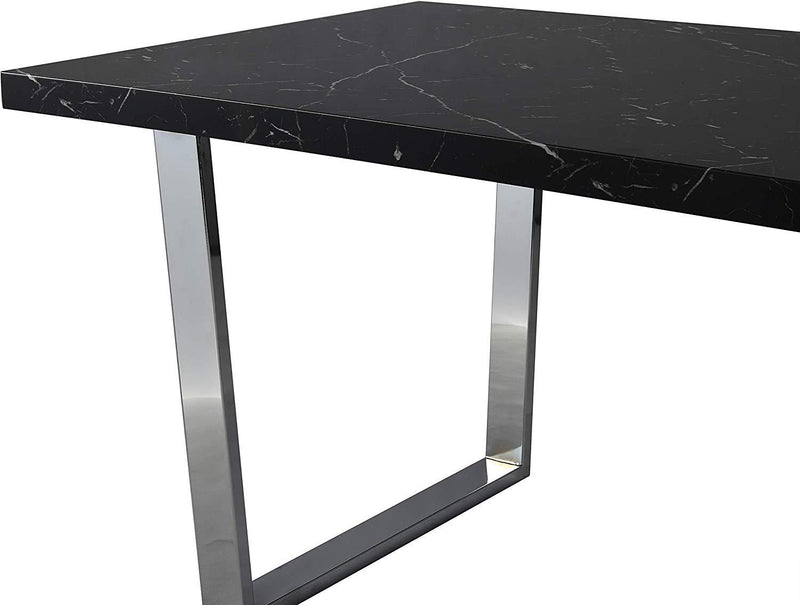 BIASCA 6-Seater High Gloss Marble Effect Dining Table with Silver Chrome Legs Black 6
