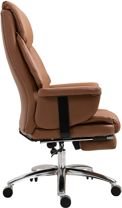 Abraham Wingback Style Office Chair with Footrest in Brown PU Leather 4