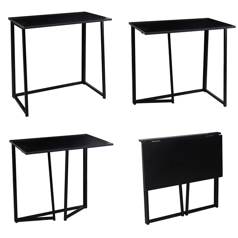 compact flip flop folding computer desk home office laptop desktop table black