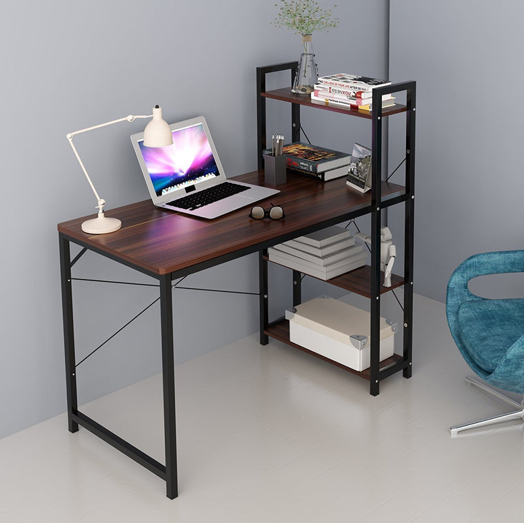 4-Tier Shelves Computer Workstation Desk, Walnut Colour