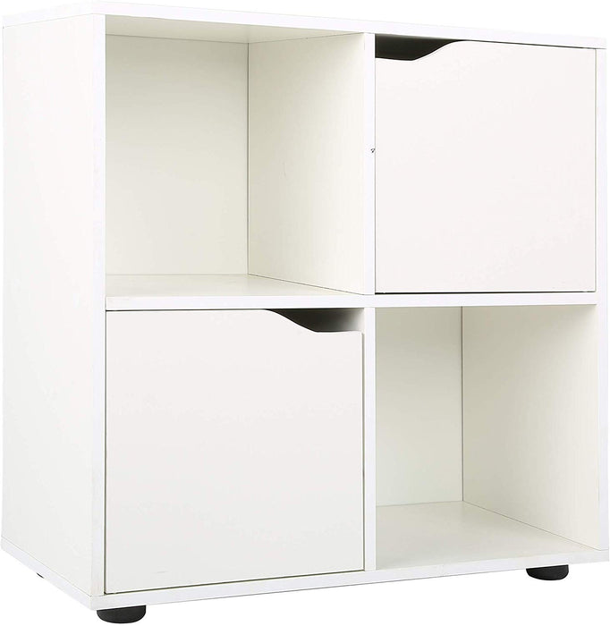 NORDI Multi Compartment Cube Storage Unit Organiser Sideboard Cabinet with 2 Cupboard Doors White