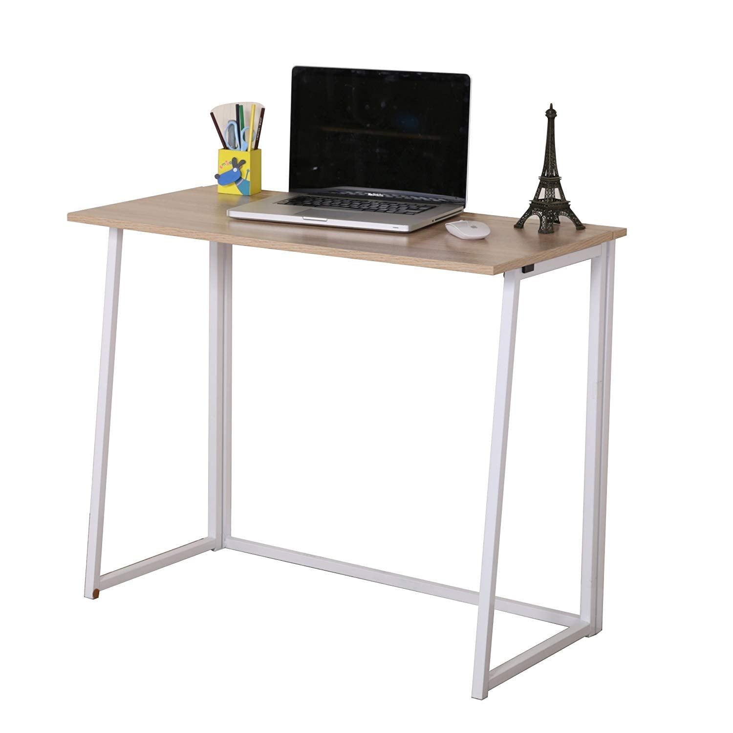 Compact Folding Desk In Natural No Assembly Shop Designer Home Furnishings