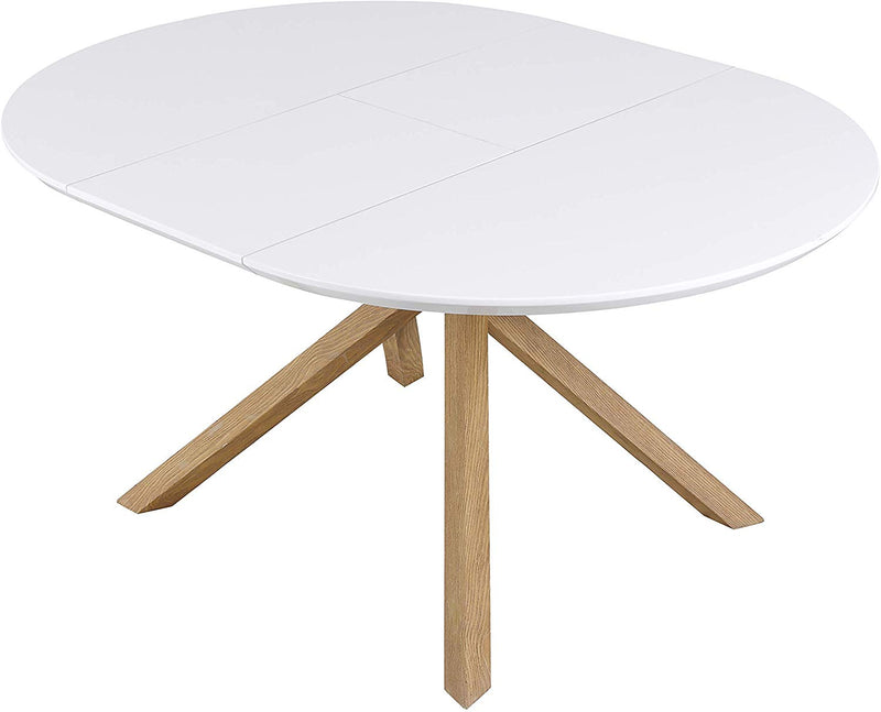 GRENCHEN Round to Oval 4 to 6-Seater White High Gloss Extendable Dining Table 4