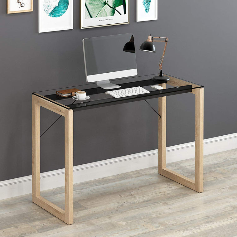 ELISE Clear Tempered Glass Top Computer Desk with Solid Wood Frame