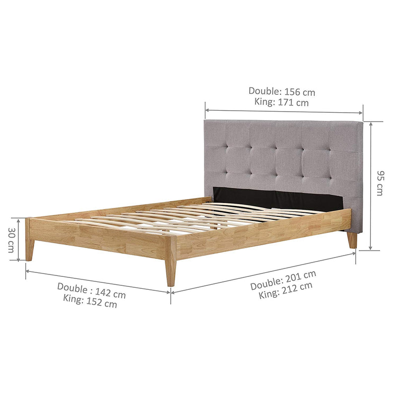 nusakan grey linen fabric wood frame bed