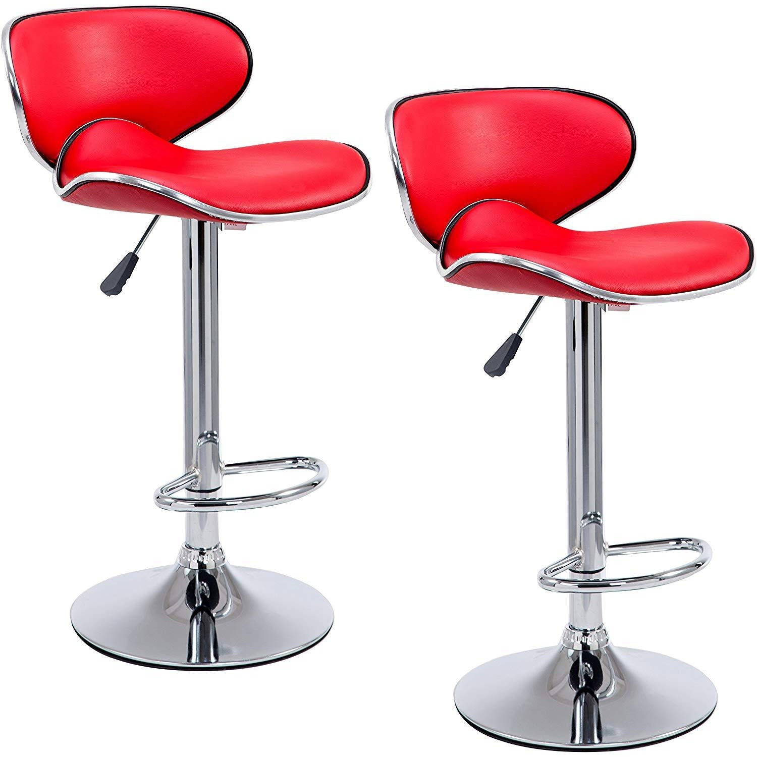 Cherry Tree Furniture SET OF 2 X Faux Leather Chrome Base Height Adjustable Swivel Bar Stools Kitchen Stools in Red MB-201