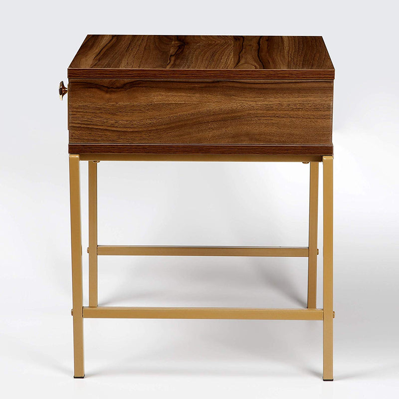 Cherry Tree Furniture NARA Walnut Colour Side Table Bedside End Table with Golden Metal Frame & Trims