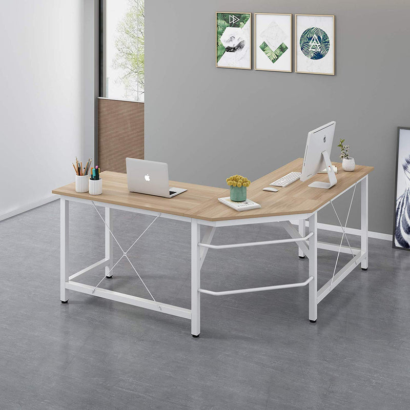 Cherry Tree Furniture Large L-Shaped Corner Desk Computer Workstation 150x150 x73 cm Wood & White Frame