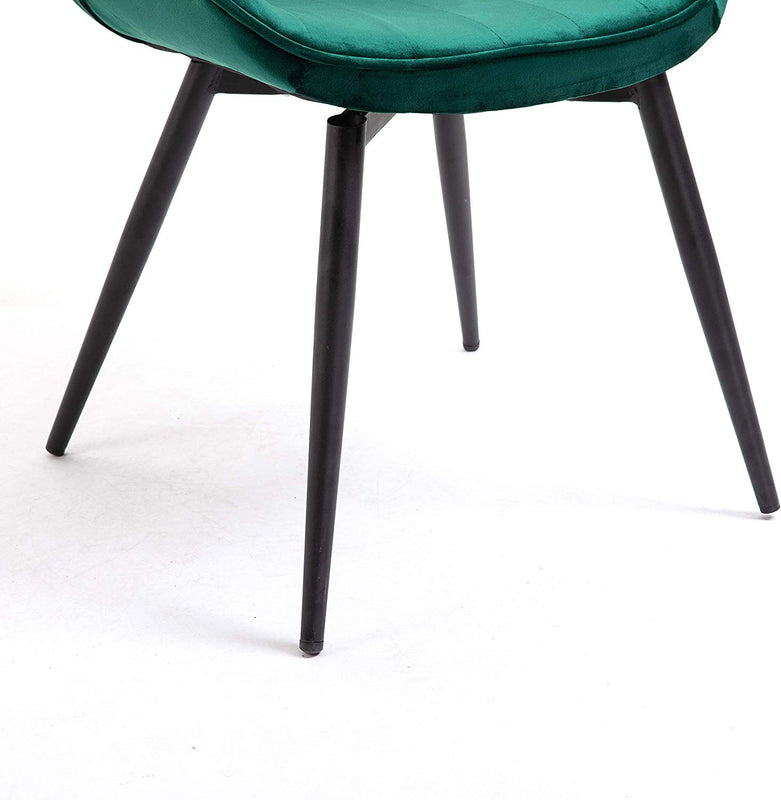 Cherry Tree Furniture Cala SET OF 2 Pine Green Colour Velvet Fabric Desk Chairs/Dining Chairs