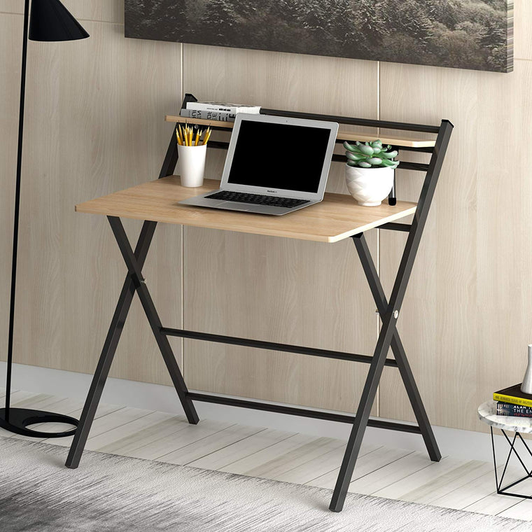 Folding Desk with Natural Desk Top and Steel Frame
