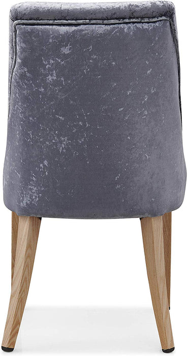 Burnaby Set of 2 Crushed Velvet Dining Chairs with Buttoned Back in Grey 6