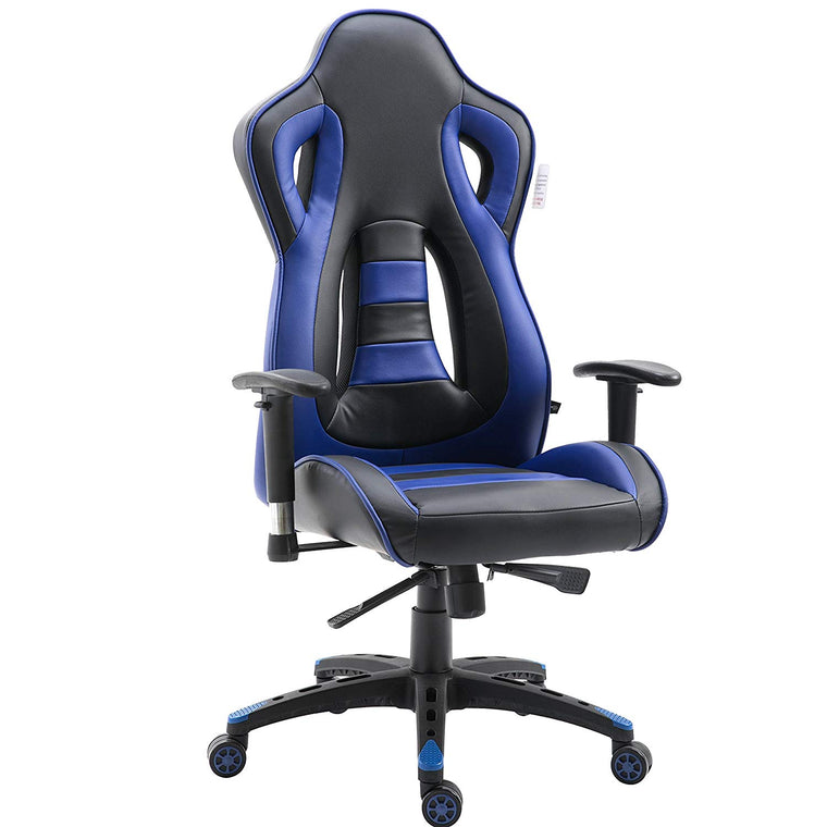 CTF Racing Style High Back Swivel Gaming Chair Computer Desk Chair with Back Vents Design, Blue