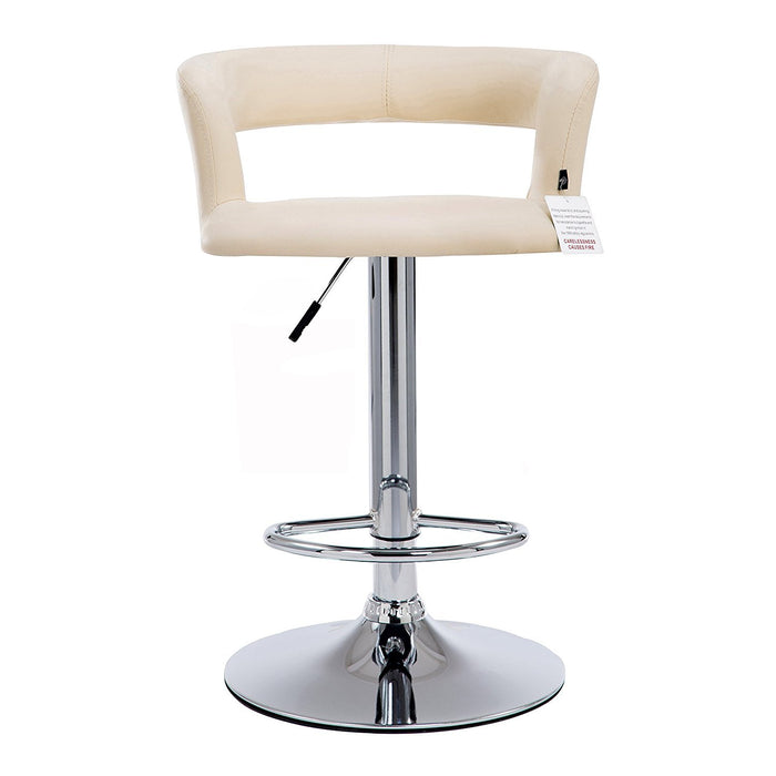 Beige Faux Leather Chrome Base Swivel Bar Stool MB-203 in Pair
