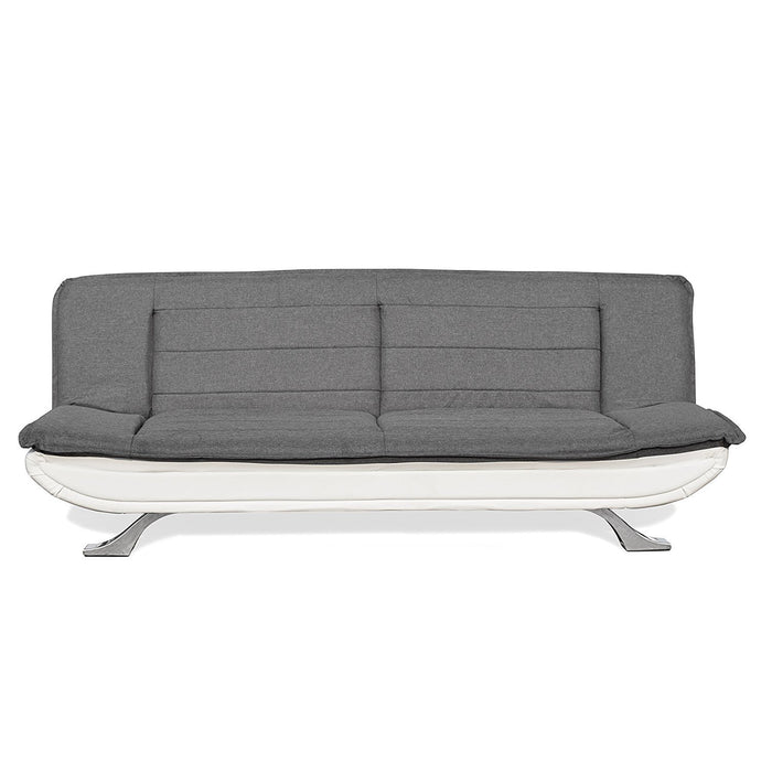 ALISON Tufted 3-Seater Sofa Bed with Chrome Feet, Charcoal & White
