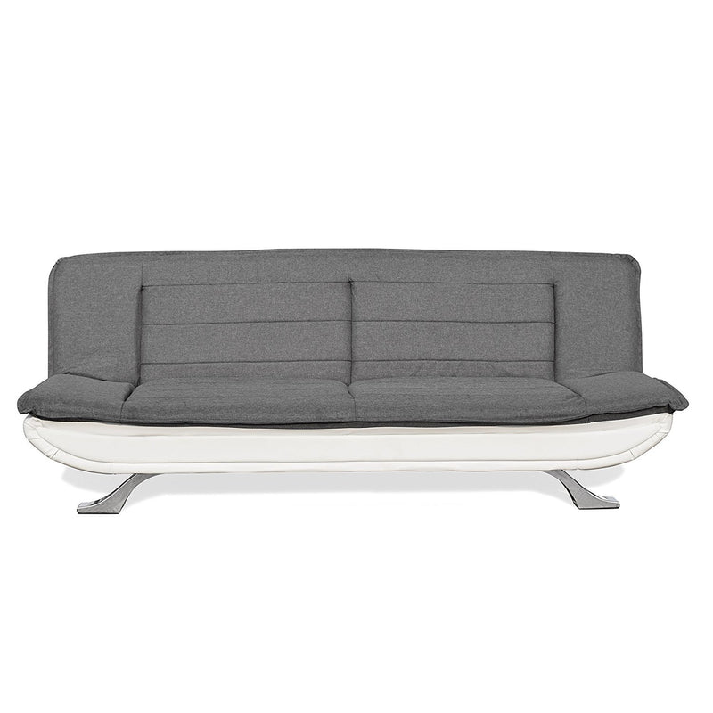 alison tufted 3 seater sofa bed with chrome feet charcoal white