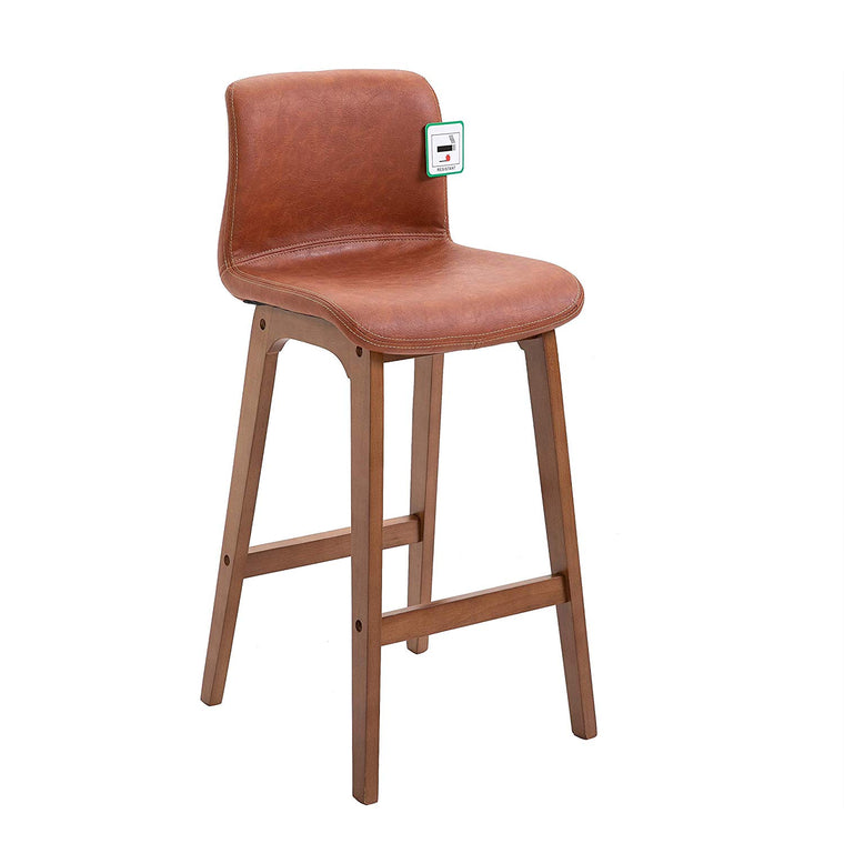 MOHLIN Retro High Barstool Bar Chair with Solid Beech Legs in Vintage Brown PU