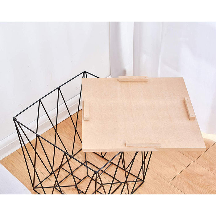 Cherry Tree Furniture KORAM Basket Side Table Geometric Wire Frame End Table Square Wooden Top