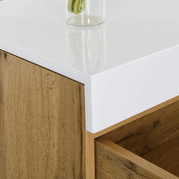 Yukon High Gloss White 2 in 1 Desk or Sideboard with Extendable Top 8