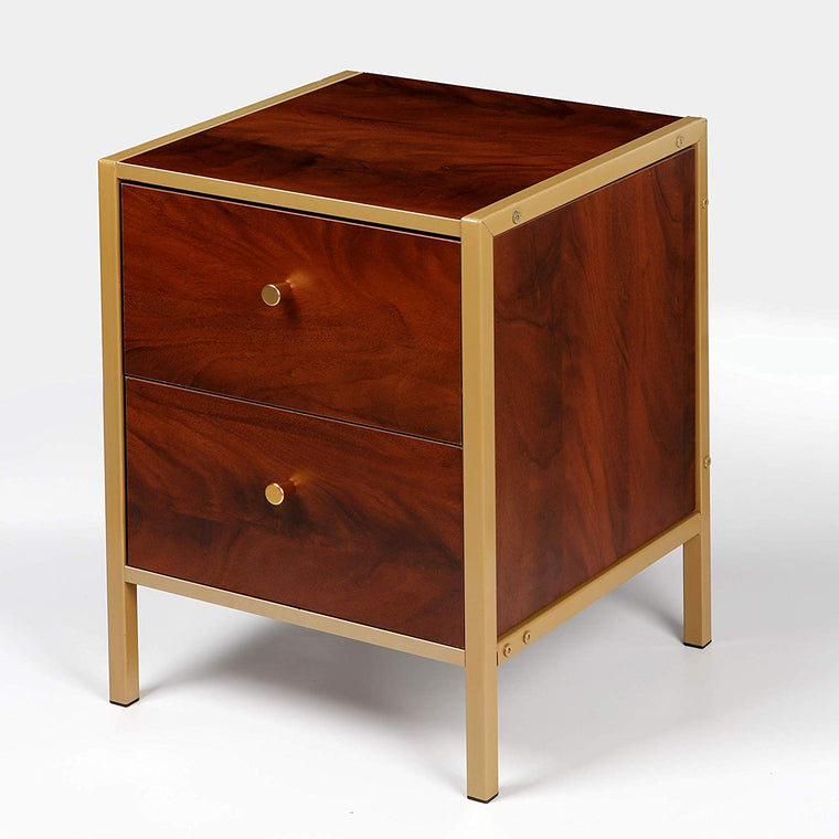 Cherry Tree Furniture BURSA Red Walnut Colour 2-Drawer Cabinet Bedside Table End Table with Golden Frame