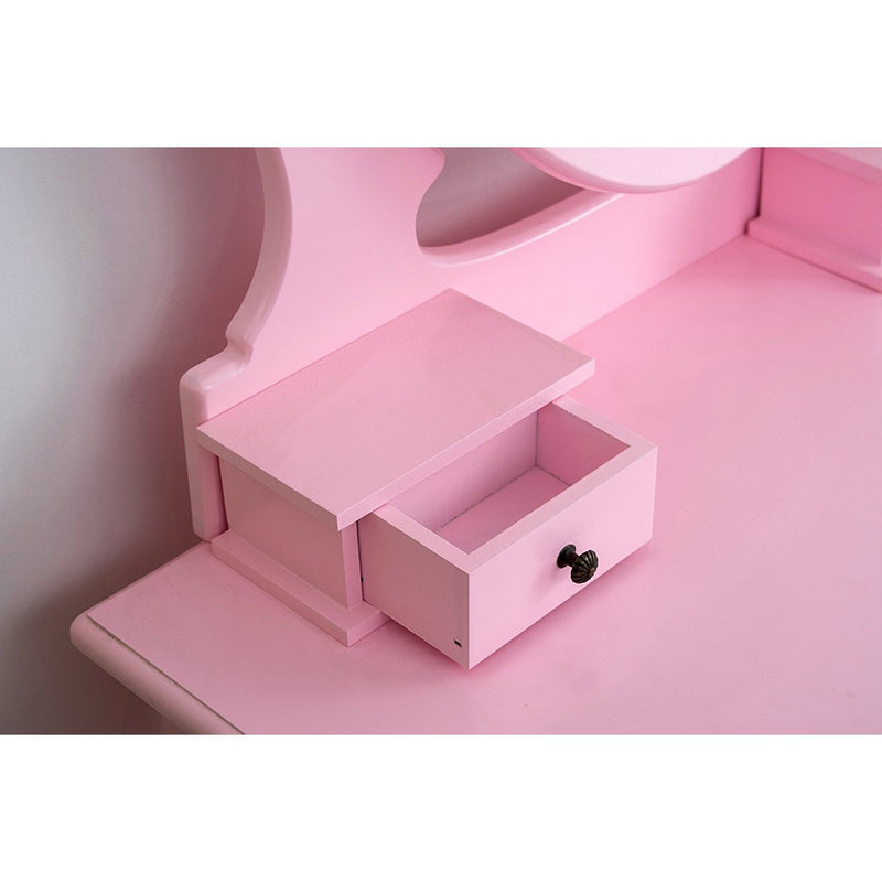 3-Drawer Makeup Dressing Table Set with Stool Oval Mirror & Stool Pink
