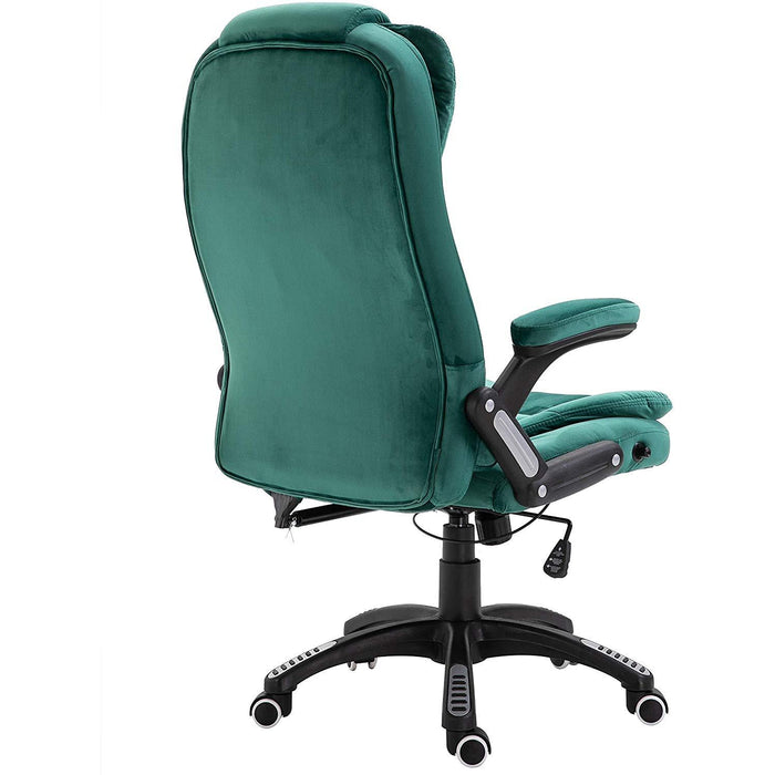 Cherry Tree Furniture Executive Recline Extra Padded Office Chair Standard, Green Velvet