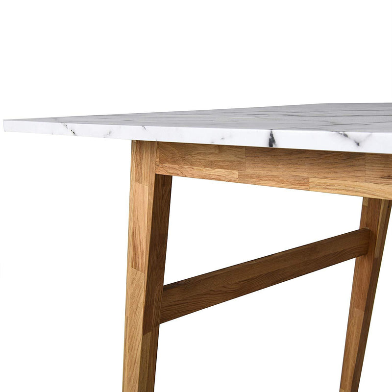 ASCONA White Marble Effect 6-Seater Dining Table with Solid Oak Legs 5