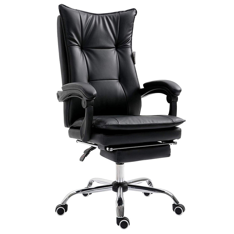 Executive Double Layer Padding Recline Office Desk Chair with Footrest, MR77 Black PU