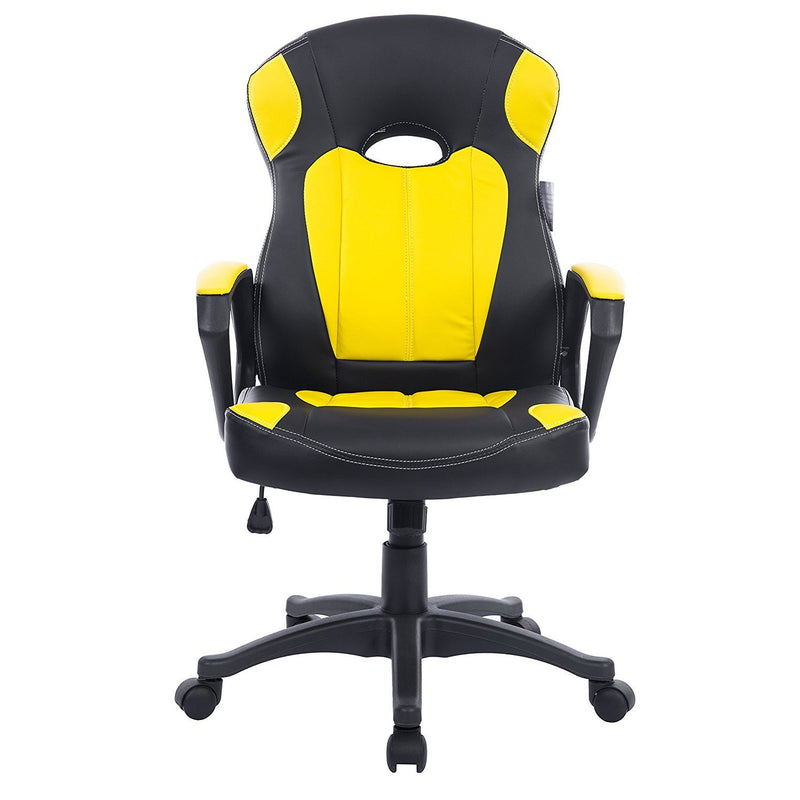 Racing Gaming Style PU Leather Swivel Office Chair,Black & Yellow