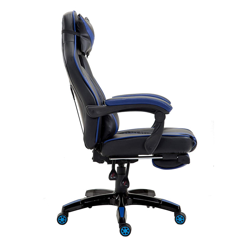 High Back Recliner Gaming Swivel Chair with Footrest & Adjustable Lumbar & Head Cushion, Black & Blue