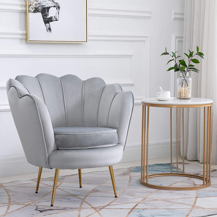 HEPBURN Scalloped Velvet Armchair Tub Chair Grey 3