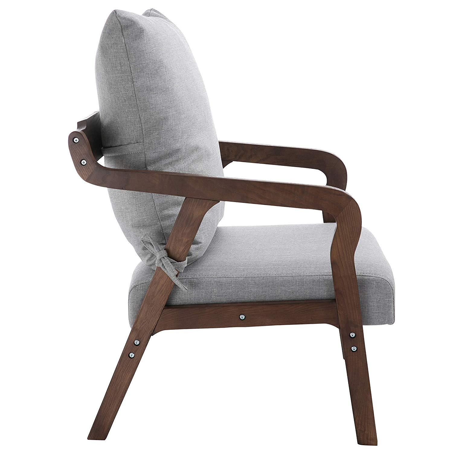 Bentwood Grey Fabric Armchair Accent Chair With Solid Wood