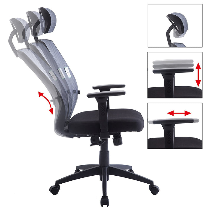 mesh fabric high back swivel office chair with adjustable armrests lumbar support headrest grey