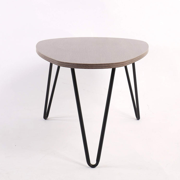 stella walnut oval coffee table with curved metal legs