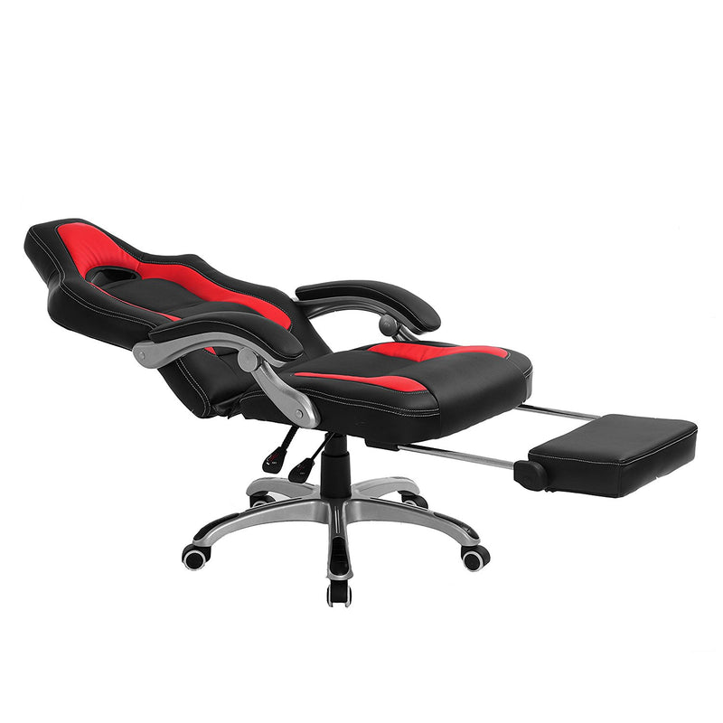 ctf racing sport reclining high back swivel chair with foot stool black red