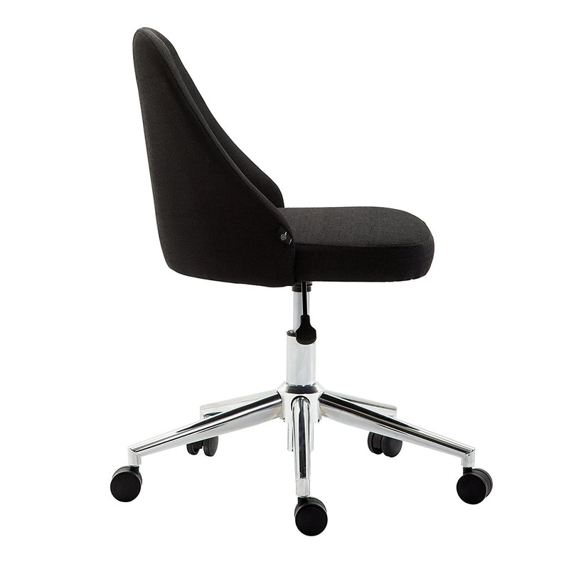 Brushed Fabric Medium Back Computer Desk Office Swivel Chair with Chrome Base, Black