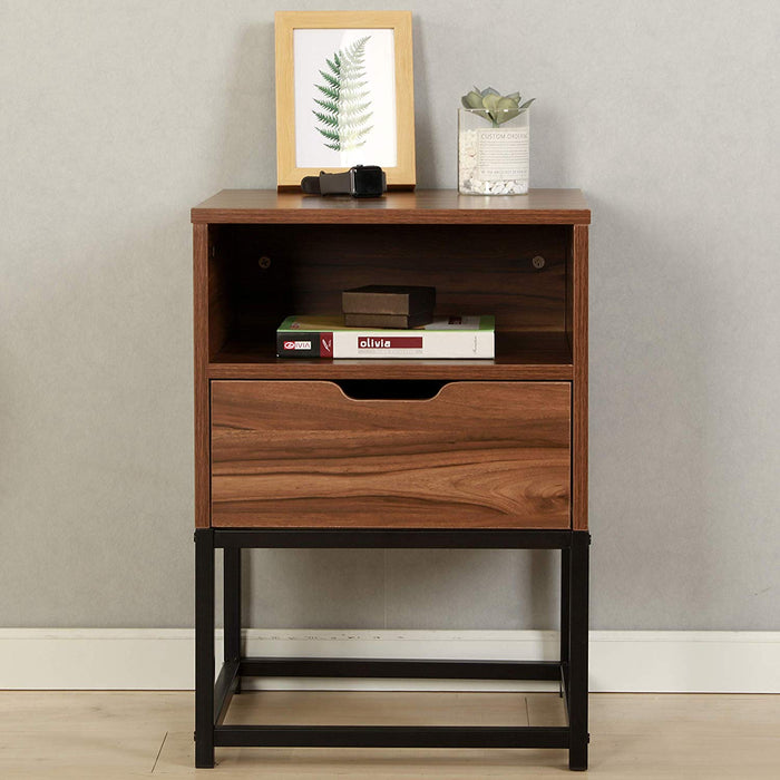 CLIVE Mid-Century Style Walnut Colour Bedside Table Nightstand End Table With Black Metal Frame (BC-01)