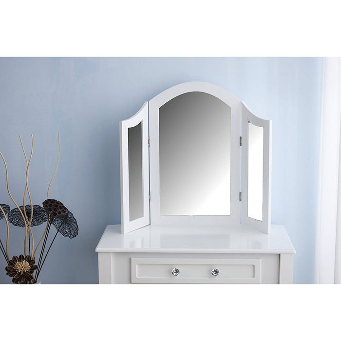 Triple Mirrors Dressing Table Set with Stool, White