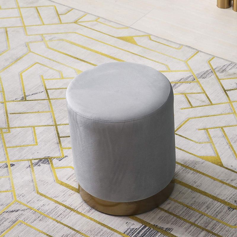 MIA Plush Velvet Stool Pouffe with Golden Accents Grey 2