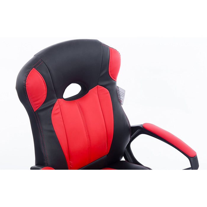 Racing Gaming Style PU Leather Swivel Office Chair, Black & Red