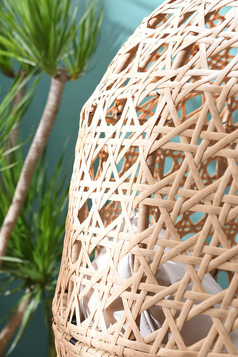 Nerida Natural Rattan Effect Cocoon Swivel Garden Egg Chair 7