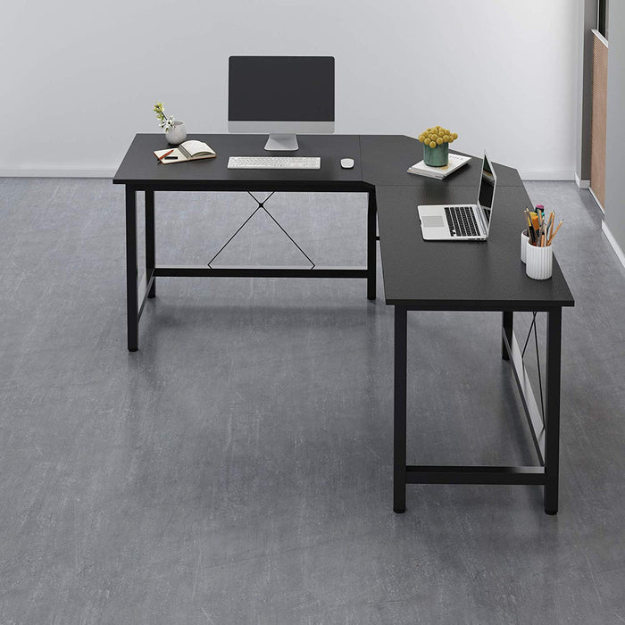 Cherry Tree Furniture Large L-Shaped Corner Desk Computer Workstation 150x150 x73 cm Black