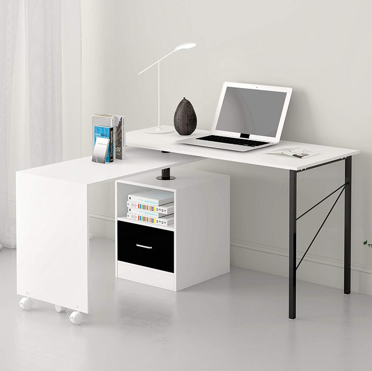 L-Shaped Extending Computer Workstation Corner Desk with Storage, White