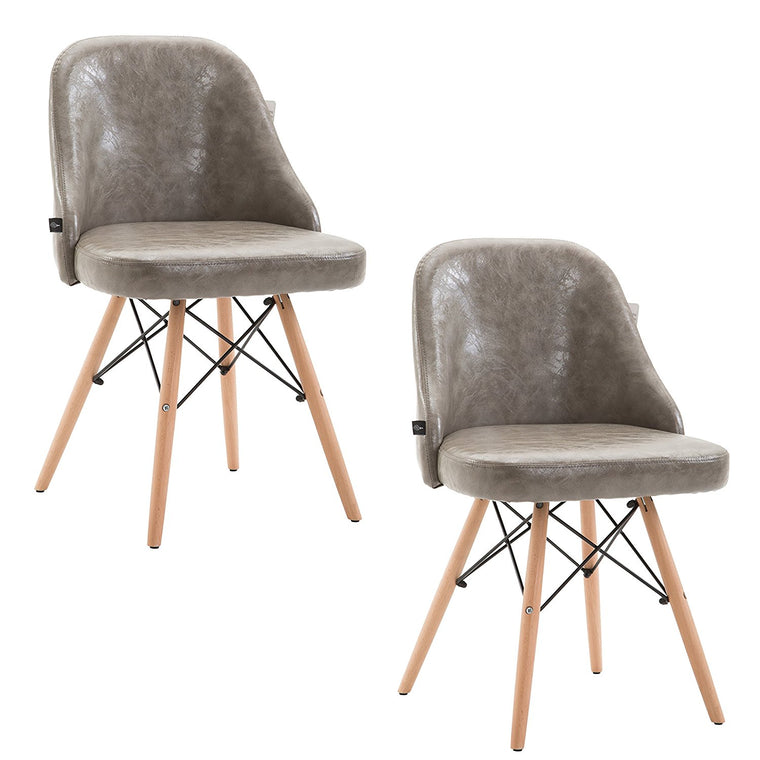 CTF Retro Modern PU Leather Padded Dining Chair Pair with Solid Legs, Grey