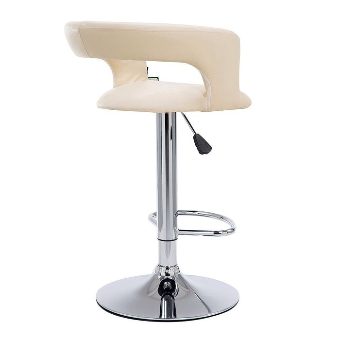 beige faux leather chrome base swivel bar stool mb 203 in pair