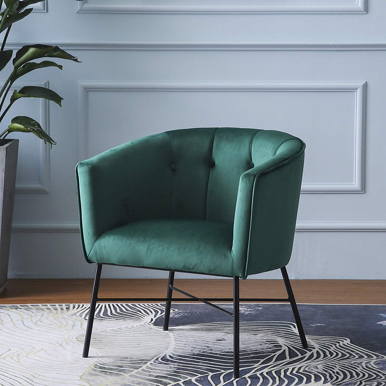 AURELIE Velvet Fluted Back Armchair Tub Chair Emerald Green