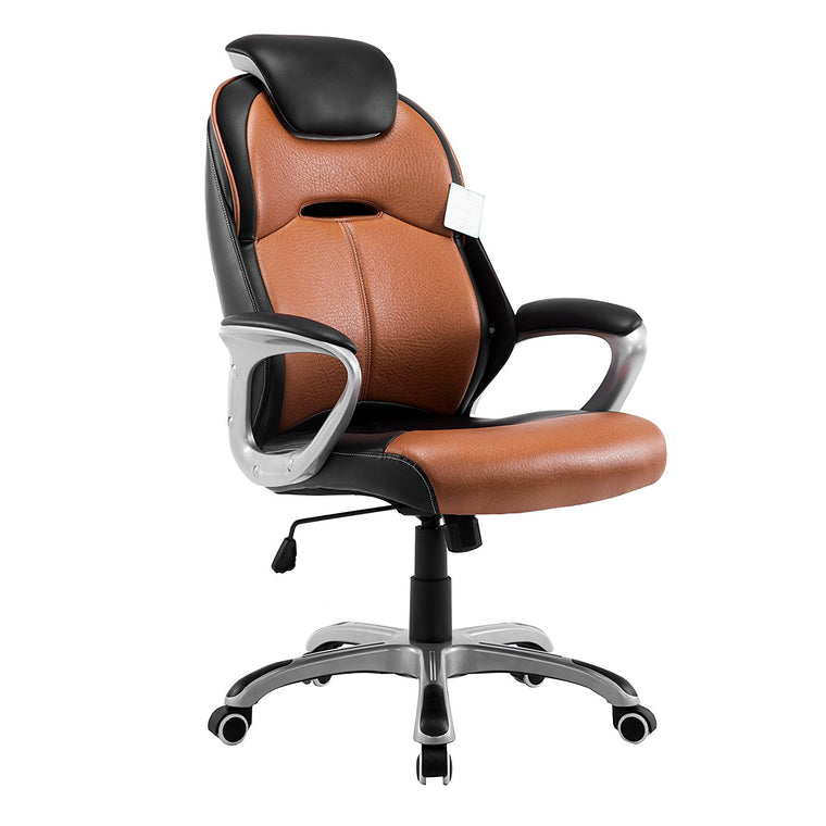 Extra Padded PU Leather Executive Swivel Office Chair with Padded Headrest, Brown